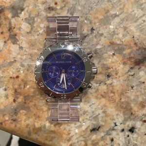 Michael kors navy face clear band  silver watch